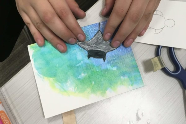 Students at a Youth-In-Custody facility participated in a two-week workshop where they learned, discussed, and expressed ideas about biodiversity loss. This is a watercolor animal inside its habitat.